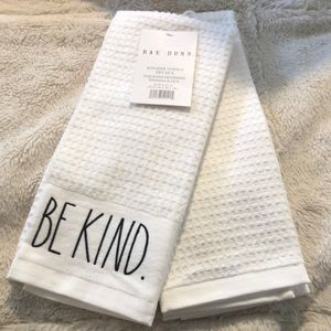"""Rae Dunn Kitchen Towels """"Be Kind & Be Happy"""""""